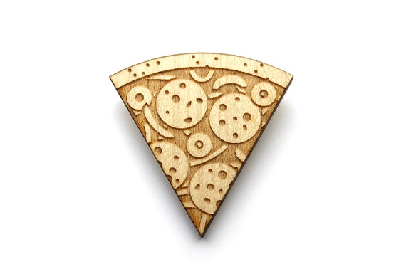 Pizza brooch  - Pizza jewelry  - maple wooden jewellery - wood and metal pin - lasercut minimalist jewelry