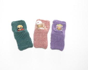 Hand knit merino wool sleeping/storage bag for toys-rose