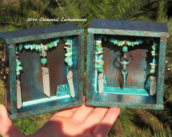 Goddess Shrine Altar Box Blue Green Brown With Gemstone Beads And Quartz Crystal OOAK Elemental Enchantments