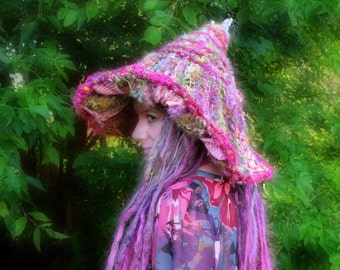 Pink women hat Fairy hat Handknit with handspun yarn and patchwork Halloween hat for witches Pink crochet hat for larping Pixie from Quebec
