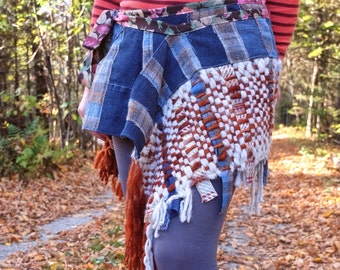 Woman skirt Plaid skirt Gypsy skirt Wrap skirt with recycled denim Patchwork skirt Eco clothing Hand woven Winter skirt Mini skirt