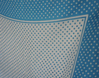 Vintage 1950s silk and rayon scarf blue and white polka dot made in Japan 17 x 17 inches