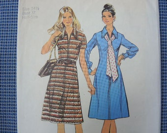vintage 1970s simplicity sewing pattern 5093 princess seamed dress size 14 1/2