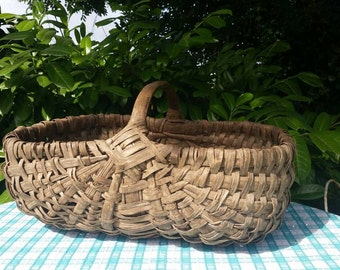 Gorgeous Rare Large size Antique French Handcrafted Rustic Willow / Reed Gathering Basket-Unique Twin Handled Basket Flowers,Legumes,Fruits