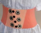 Belt Wide Orange Retro Belt Womens Belts