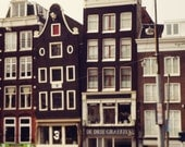 Travel Photography, Amsterdam Home Decor, Architecture Print, Europe, Urban Decor, Brown Home Decor, City Art, Canal Houses, Crooked Houses
