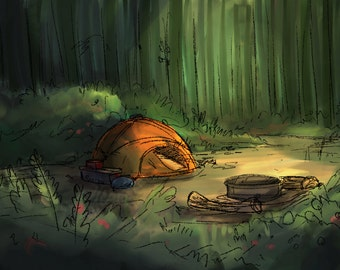 Campsite in the woods- Print of my original illustration