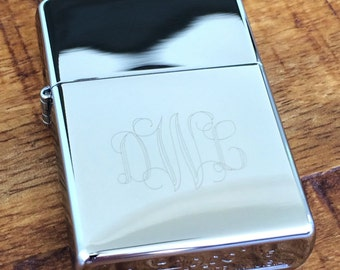 Monogram Zippo Lighter - Groomsman Gift Engraved Chrome Finish Monogrammed