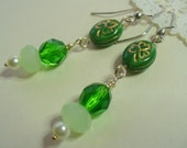 Saint Patrick's Day, Shamrock Dangle Earrings, Lovely Green Crystal, Beaded Glass Earrings, Silver Earrings, Green, Irish Earrings, Jewelry