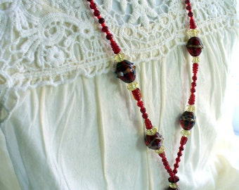 Red Glass Lanyard Necklace, Red Wedding Cake Bead Lanyard, Nametag, Keychain Holder, Silver, Beaded Necklace, Badge Holder