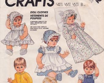 """FF 80s Doll Clothes, Dress, Pinafore, Bonnet +, Size (S)13-14"""", (M)15-16"""", (L)17-18"""", [McCall's Crafts 2862] UNCUT"""