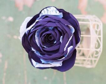 Purple Fascinator, Vintage Style Hair Flower, Plum Hair Flower, Indigo Purple Hair Accessory, Violet Hair Clip, Plum Flower Brooch