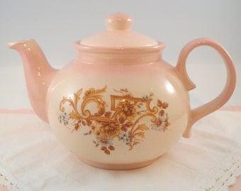 Vintage Teapot Pink Staffordshire England Shabby Cottage Chic Vintage Large Teapot 6 Cup