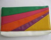 vintage. PURSE. clutch. VEGAN. colorful. RAINBOW. 1980s.