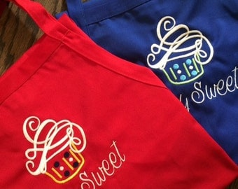 Monogrammed Personalized Apron set of 7 great for Bridesmaids Gifts