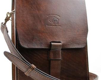 Leather Satchel Vintage Style Distressed  Handmade iPad Messenger 133