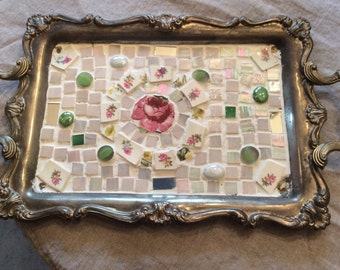 Silver Plate Decorative Tray With Mosaic Top *Pink Rose * Broken China