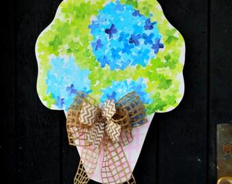 Door Hanger: Summer Door Decoration, Flower Door Hanger, Hydrandea Wreath, mothers day