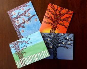 "Set of 8 Designer Note Cards: ""Out On A Limb"""