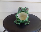 Vintage Green Ceramic Frog Scrubber/ Sponge Holder / Planter