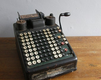 Amazing Burroughs Adding machine 1940s era, hand cranked ,Free uk postage