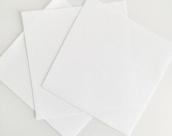 "3 Pack - Pre Cut White 14 Count Aida Fabric 7"" With Calico - Cross Stitch Kit Supplies Re-fill - Aida & Calico Perfect for Cross Stitching"