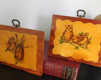 Pair of fabulous 1960-1970s cheery OWL plaques , Cedar wall plaques from Stricklands Mtn Inn Poconos PA, vintage owl art