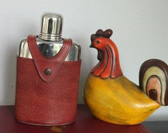 Vintage flask Bosca leather great gift for him glass bottle chrome top liquor flask hip flask or pocket flask, leather flask holder
