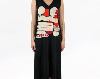 Shapes Study Dress, V-Neck Tank, Hand Dyed and Painted in Black Cotton