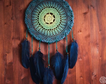 Dream Catcher - Waves - With Transitional Crochet Web and Dark Blue Feathers - Home Decor, Nursery Mobile