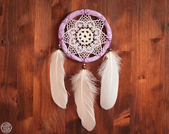Dream Catcher - Nature is Yours - With Transitional White-Purple Crochet Web and White Feathers - Boho Home Decor, Nursery Mobile