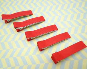 Sale--10 pcs girl hair clips --red satin hair clips - girl barrettes