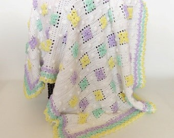 Baby Blanket Afghan Crochet Flower White, Purple, Green, Yellow- Newborn Baby Girl, Crib Bedding, Nusery Decor, Baby Heirloom, Lap Afghan
