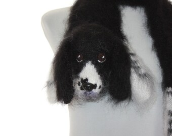 Knitted Scarf dog springer spaniel  Fuzzy Soft Scarf  Black white   Dog scarf  Pet portrait  Knited dog scarf  Animal scarf  Dog Breed Scarf