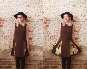 Vintage 1960s small / medium dark brown pleated drop waist shift dress w/ hidden print / mad men / peggy olson / sleeveless /