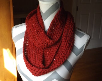 Clearance: 50% OFF!!  Cranberry Sparkle Infinity Scarf