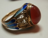 Chinese Gold Washed Sterling Silver Filigree Enameled Carnelian Ring -Adjustable