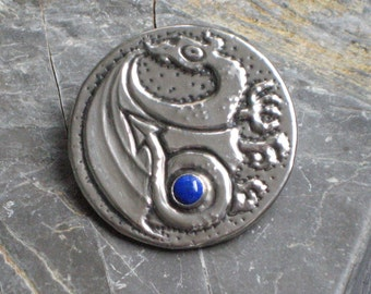 Lapis Lazuli Dragon Brooch