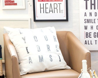Live Your Dreams - Decorative Cushion Cover by [LOVE TO BE] 17.7 x 17.7 inch 100% Cotton Inspirational Bedding + Home Décor - Handprinted