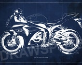 2012 SUZUKI GSX-R1000 Blueprint, Art Print 8x12in and larger sizes, Motorcycle Art print,Original Drawing for men cave