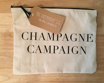 Medium Size Champagne Campaign Cosmetic Bag/Zipper Pouch/Makeup Bag