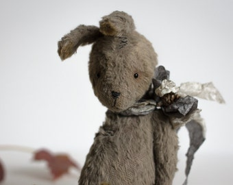 Made To Order Bunny Gray Bowl Mohair Stuffed Rabbit Toy Animal 7 Inches Gift For Her