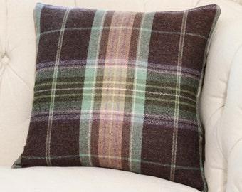 Plaid Pillow - Brown Purple Green Blue and Tan Plaid Pillow -Throw Pillow - Designer Decorative Neutral Pillow - Cowtan & Towt- Brown