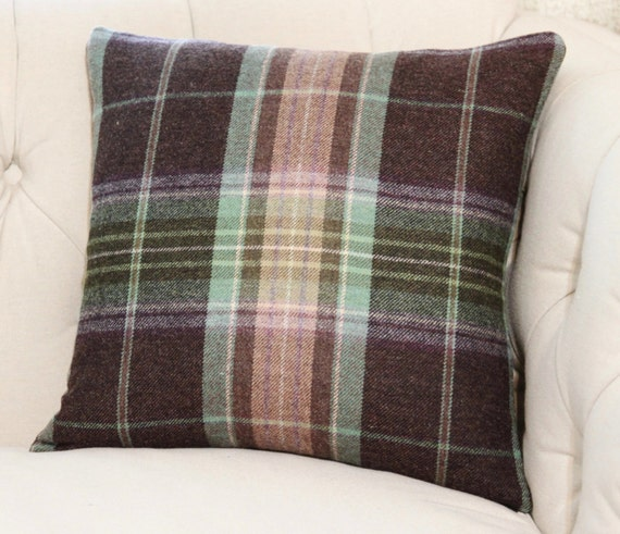 Plaid Pillow Brown Purple Green Blue and Tan Plaid Pillow