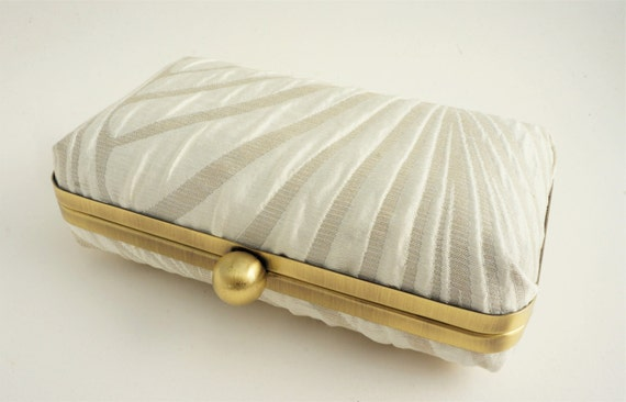 Ivory Gatsby 1920s Inspired Bridal Minaudiere Box Clutch - Evening/Bridesmaid/Prom/Art Deco - Includes Crossbody Chain - Made to Order