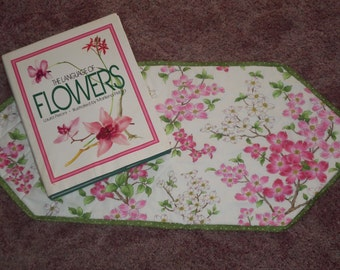 Summer Time,Table Runner, Moda  Fabric Pink Flowers Dogwoods Blossoms,Quilted, Teacher Gift,Birthday Gift