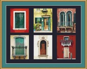 Italian Windows Cross Stitch Pattern