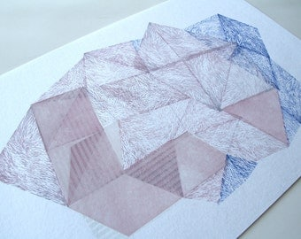 Magical Stone VI. original linocut monotype print by Paulina R. Vårregn, geometric abstract geo print