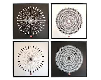 "Collection of 4 original calligraphy drawings, ""Antipoles"",  zen art by Paulina Varregn"