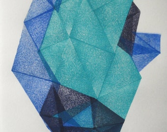 Crystals from the deep woods V., original abstract geo linocut print, tribal art